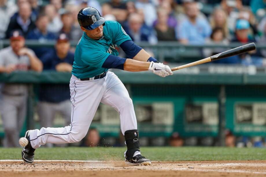 Mike Zunino of the Mariners strikes out in his first Major League at-bat.