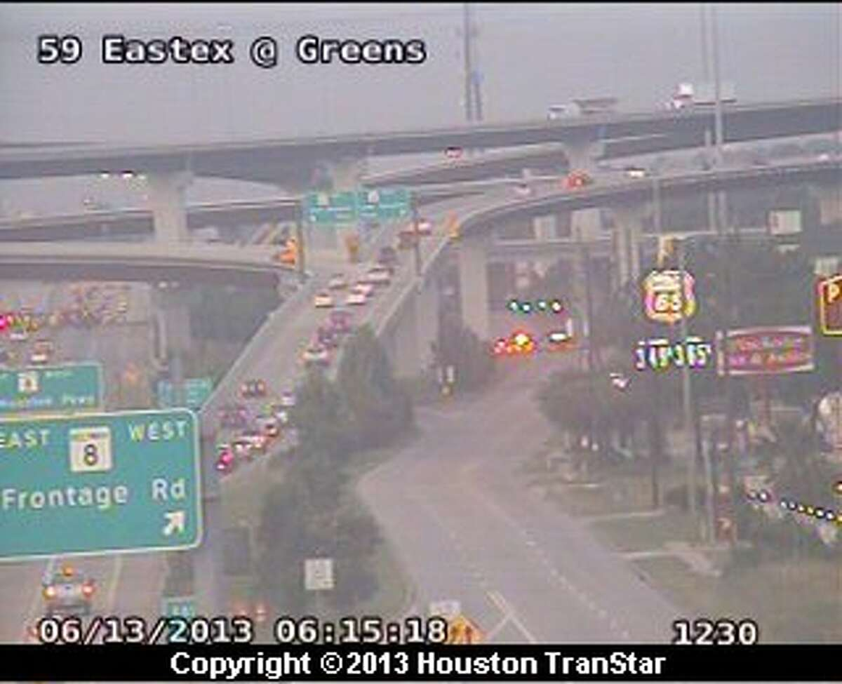 Traffic was slowed on the frontage road of the southbound Eastex Freeway after a crash early Thursday morning.