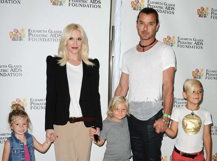 Gavin Rossdale heads out with sons Zuma and Kingston, wife Gwen Stefani and their niece Stella. The couple welcomed their third son in 2014. Photo: Jason LaVeris, FilmMagic