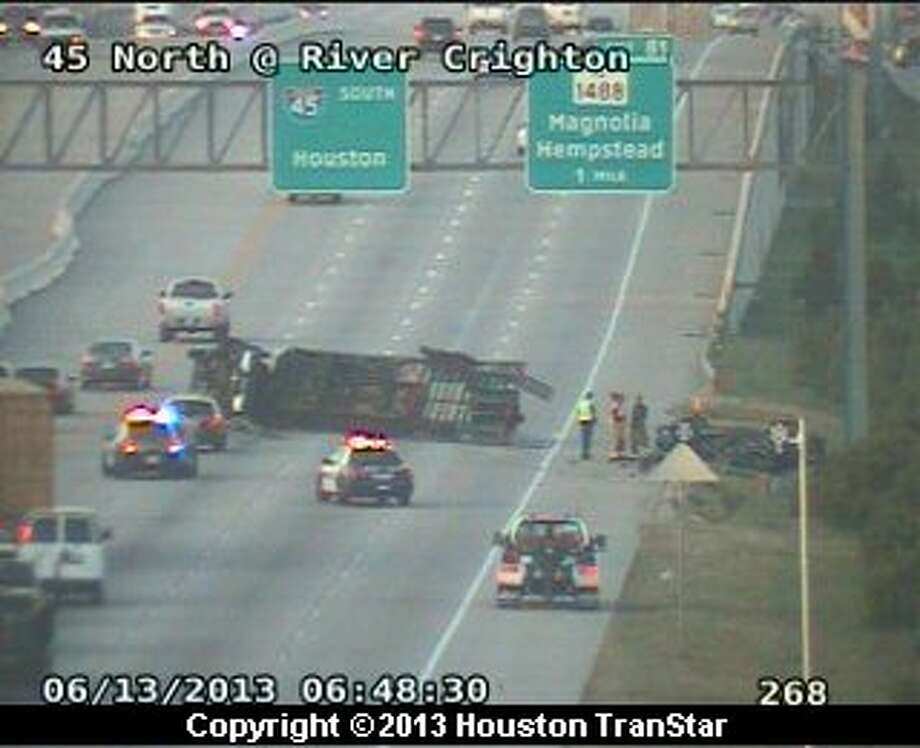 Portions of southbound Interstate 45 south of Conroe were blocked after a big-rig wreck Thursday morning. Photo: Houston Transtar