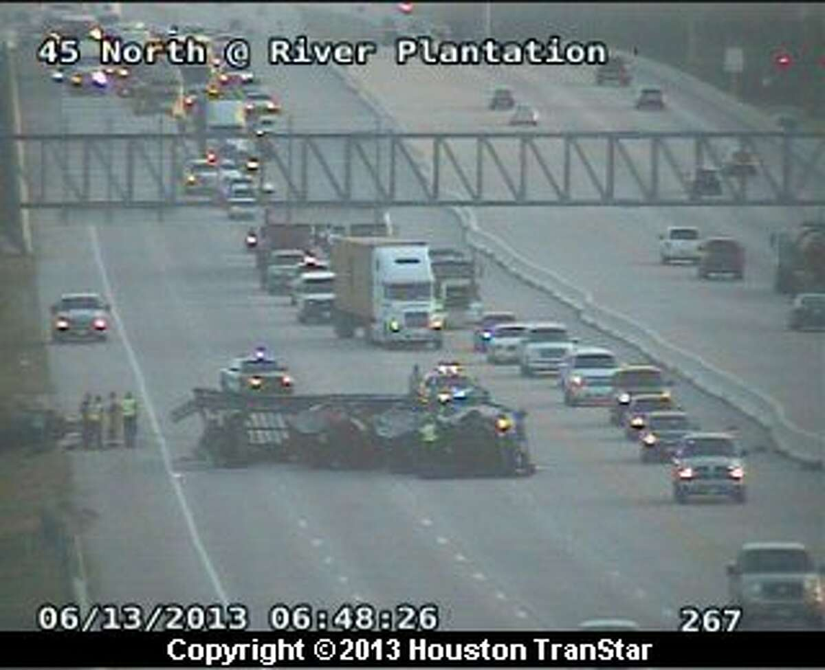 Portions of southbound Interstate 45 south of Conroe were blocked after a big-rig wreck Thursday morning.