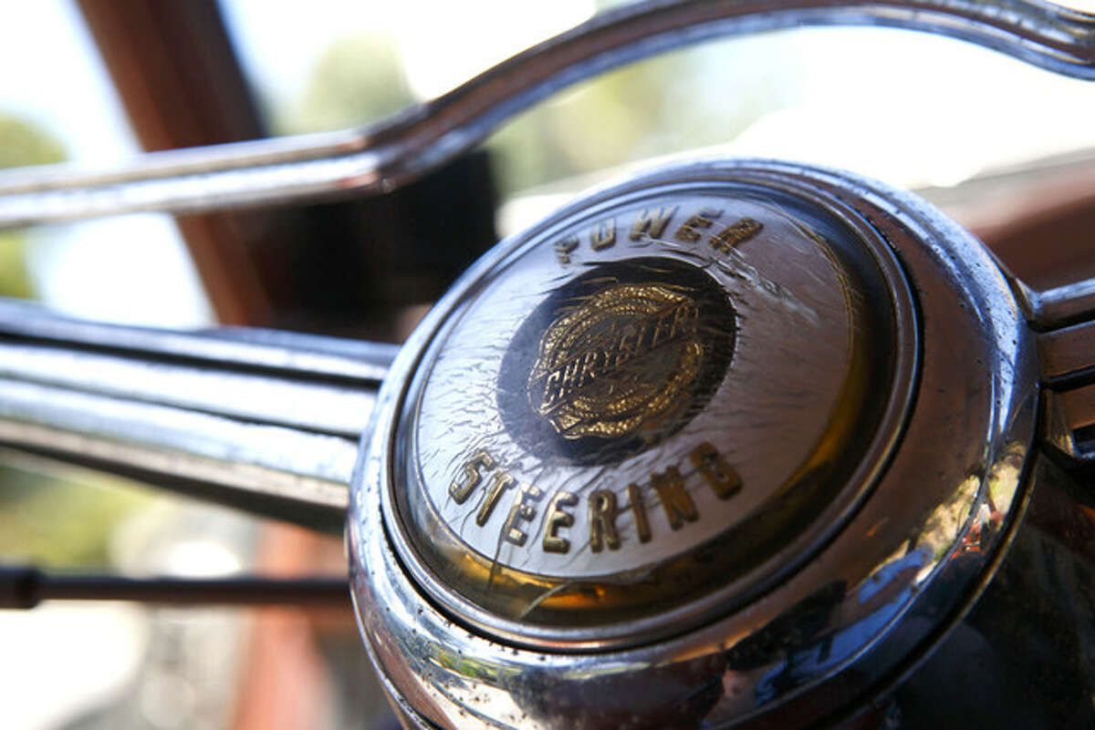 A detail of the original steering wheel of a $190,000 1952 Chrysler Town & Country from Icon Motors. Part of of Icon's