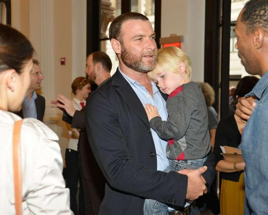 Actor Liev Schreiber cuddles son Alexander Schreiber. He also has another son with wife Naomi Watts.