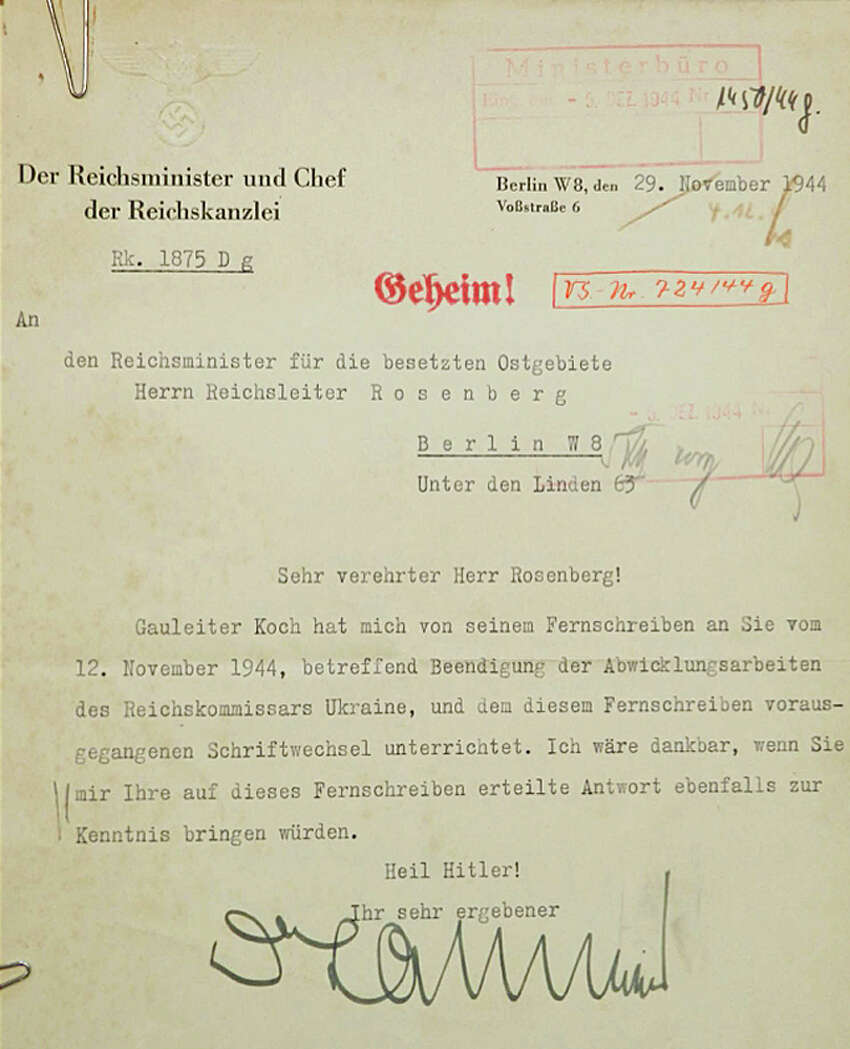 In this Nov. 29, 1944, image provided by the U.S. District Court of the state of Delaware, a Nazi document is shown. Federal authorities say they have recovered hundreds of pages from the wartime diary of Alfred Rosenberg, a Nazi party official and key adviser to Adolf Hitler. The translation of the document: Ã'Â