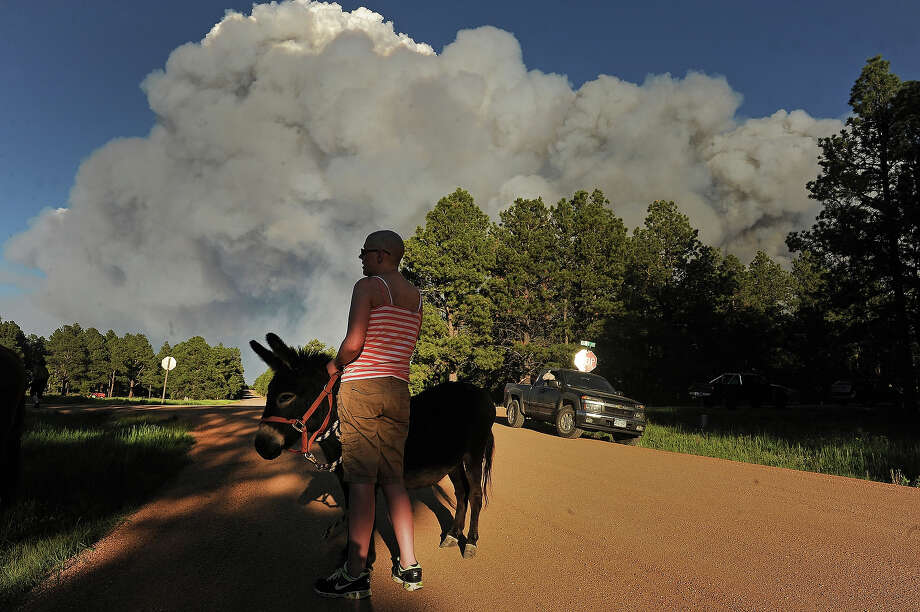 Katie Adamson, holds onto a donkey that she found wandering along the road, while her sister Heather Stanley, left, attends to their horses off of Herring Road  in the midst of the Black Forest Fire in Colorado Springs, CO on June 11, 2013..  Many homes have already been lost to the raging fire that continues to burn out of control. Photo: Helen H. Richardson, Denver Post Via Getty Images / Copyright - 2013 The Denver Post, MediaNews Group.