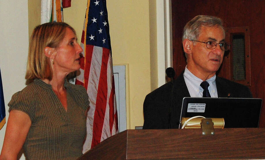 Westport Transit Authority co-directors Jennifer Johnson and Gene Cederbaum on Wednesday address a meeting hosted by the South Western Regional Planning Agency, which is studying bus service in Westport. Photo: Cameron Martin / Westport News contributed