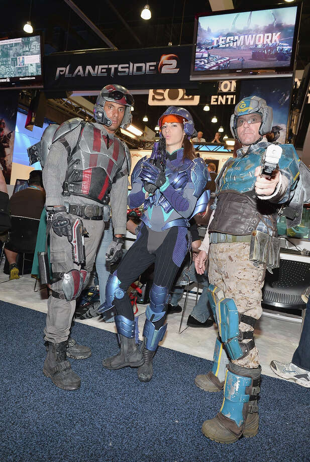 Soldiers pose at the Planetside 2 display at the E3 Gaming and Technology Conference at the Los Angeles Convention Center on June 11, 2013 in Los Angeles, California. Photo: Alberto E. Rodriguez, Getty Images / 2013 Getty Images
