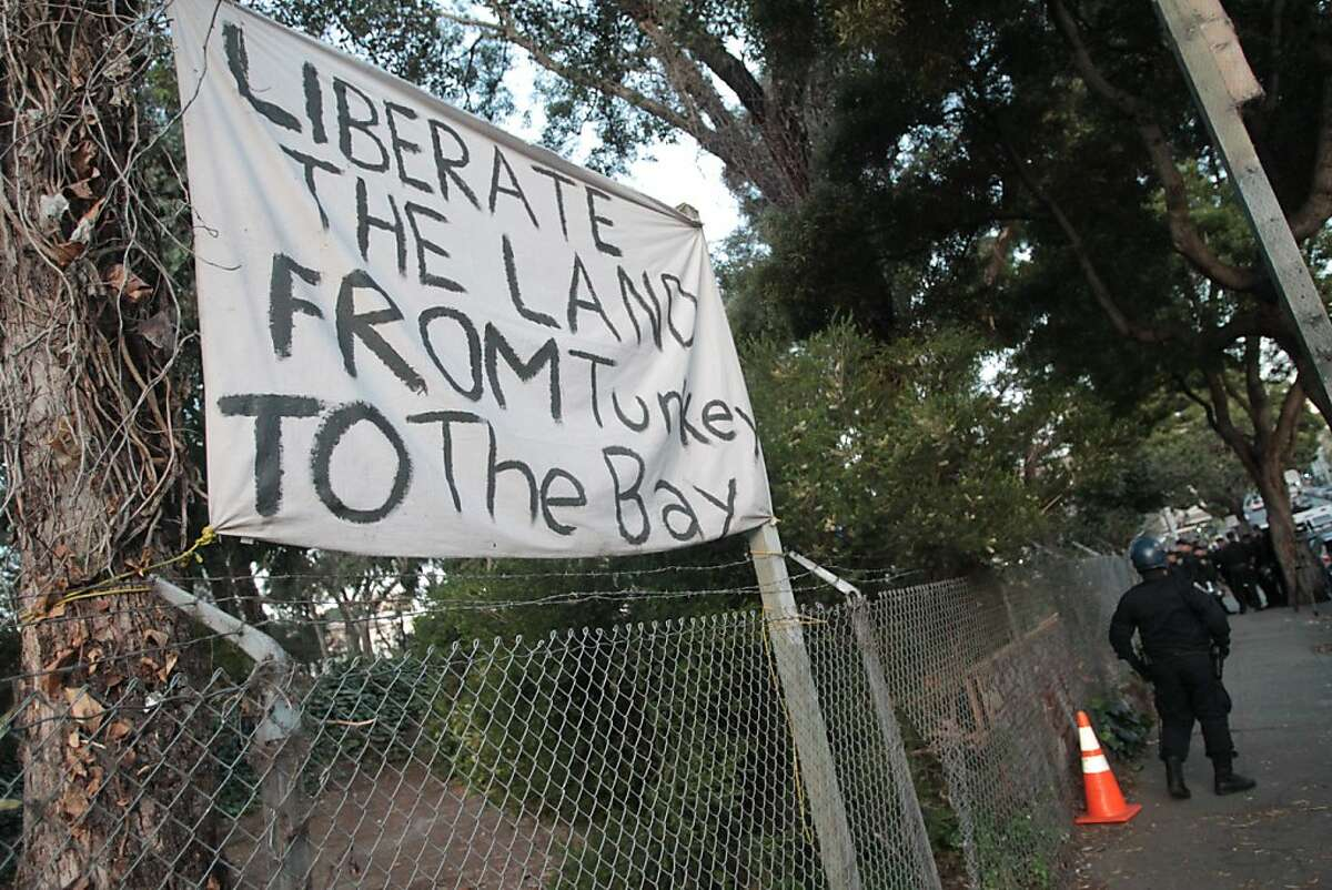 San Francisco police arrested seven people on June 13, 2013 as officers cleared a camp of activists protesting a planned housing development at the Hayes Valley Farm on Laguna St.