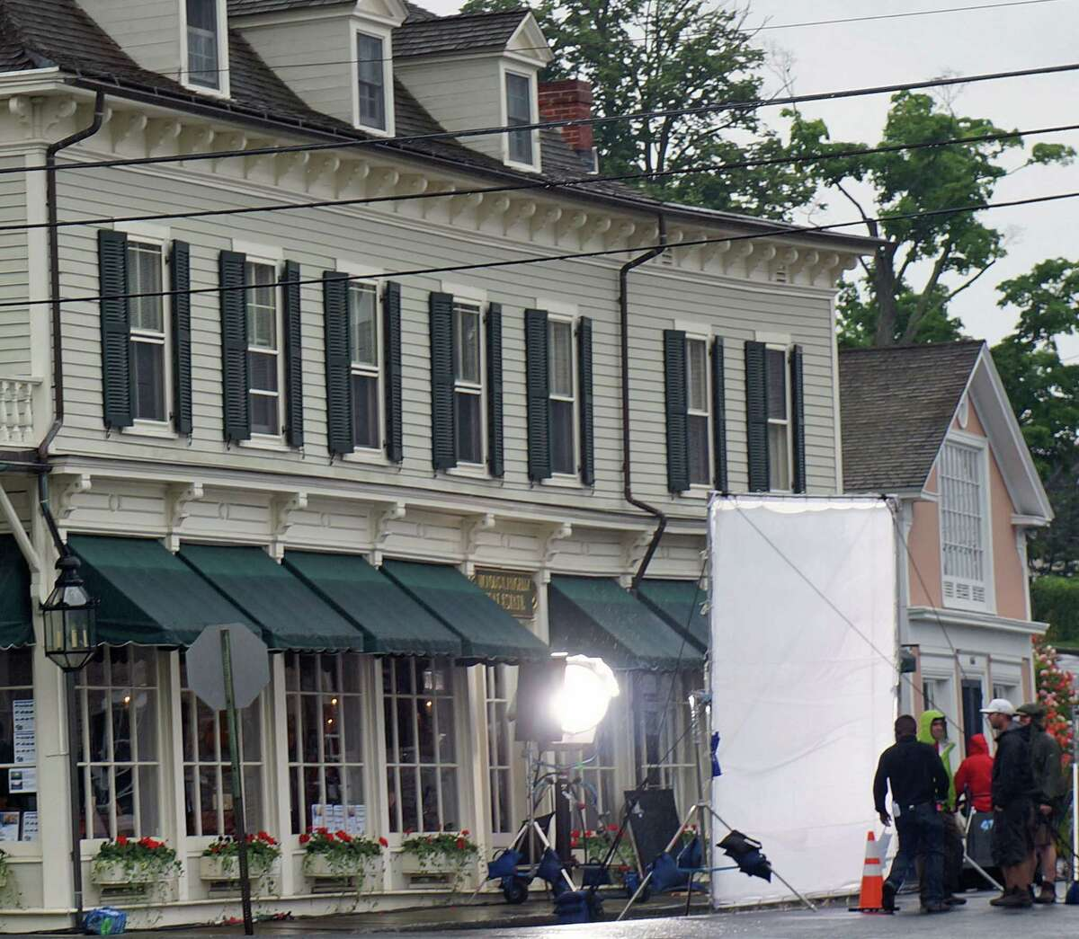 """Filming for the new movie, """"And So It Goes,"""" starring Diane Keaton and Michael Douglas, shut down part of Harbor Road Thursday."""