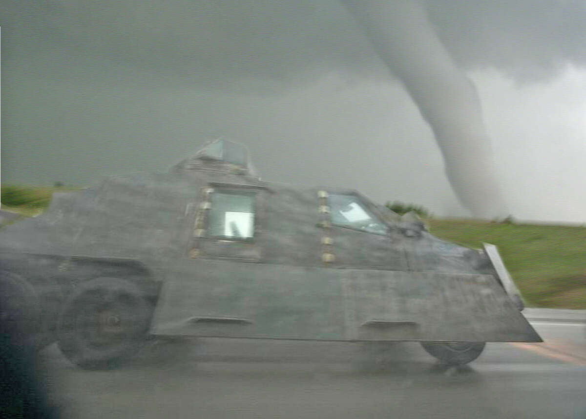 The Tornado Intercept Vehicle races to a rendezvous with a tornado in