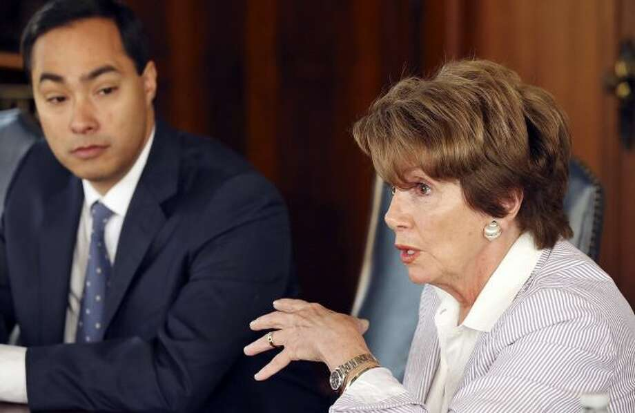 Rep. Joaquin Castro (left) speaks as House Minority Leader Nancy Pelosi listens Saturday Feb. 23, 2013 during a meeting with the San Antoino Express-News Editorial Board at the San Antoino Express-News. Photo: Edward A. Ornelas, San Antonio Express-News