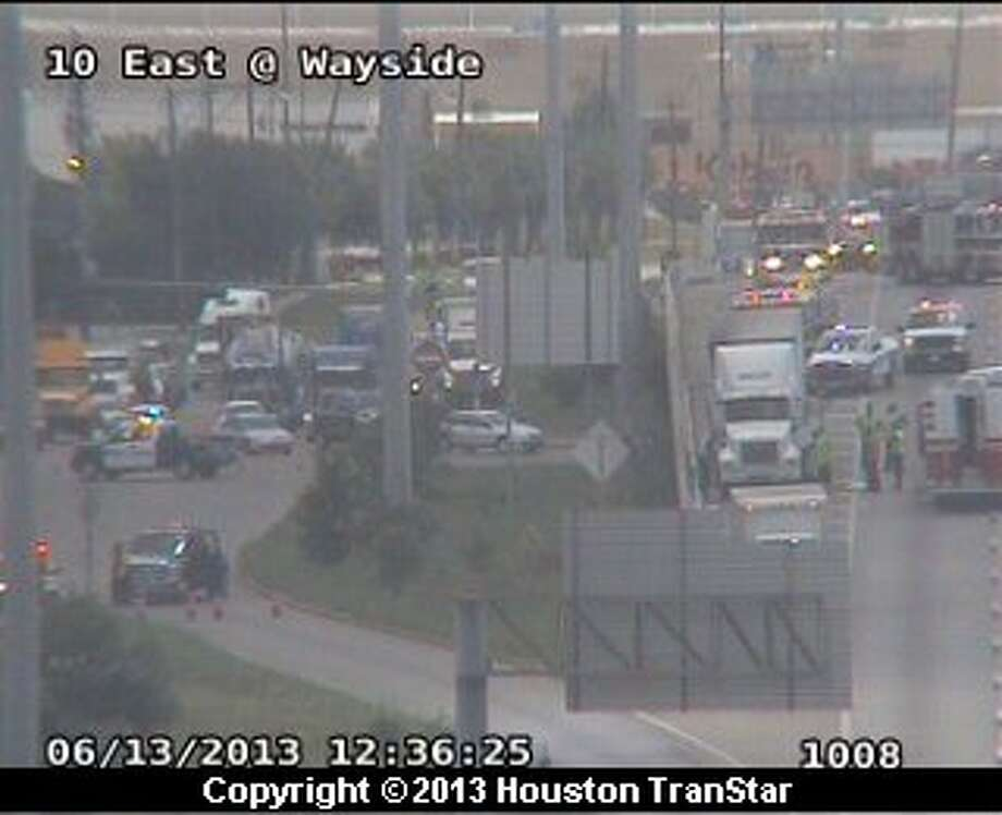 Traffic was snarled  after a wreck led to a Hazmat spill on the westbound East Freeway near McCarty about 12:20 p.m. Thursday. Photo: Houston Transtar