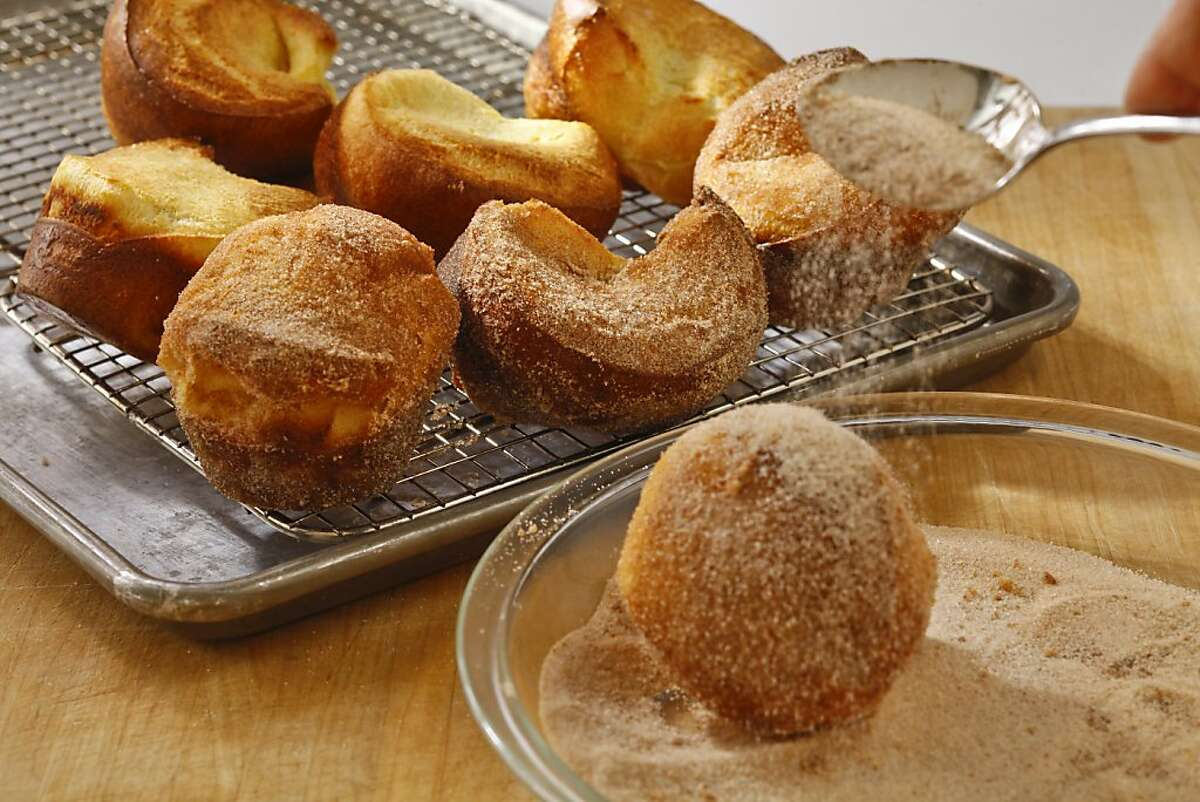 Cinnamon & sugar-crusted popovers as seen in San Francisco, California, on May 22, 2013. Food styled by Lynne Bennett.