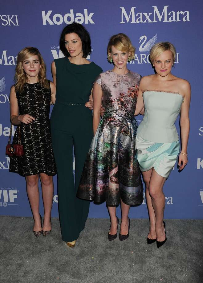 (L-R) Actresses Kiernan Shipka, Jessica Pare, January Jones and Elizabeth Moss attend Women In Film's 2013 Crystal + Lucy Awards at The Beverly Hilton Hotel on June 12, 2013 in Beverly Hills, California.(Photo by Jeffrey Mayer/WireImage)