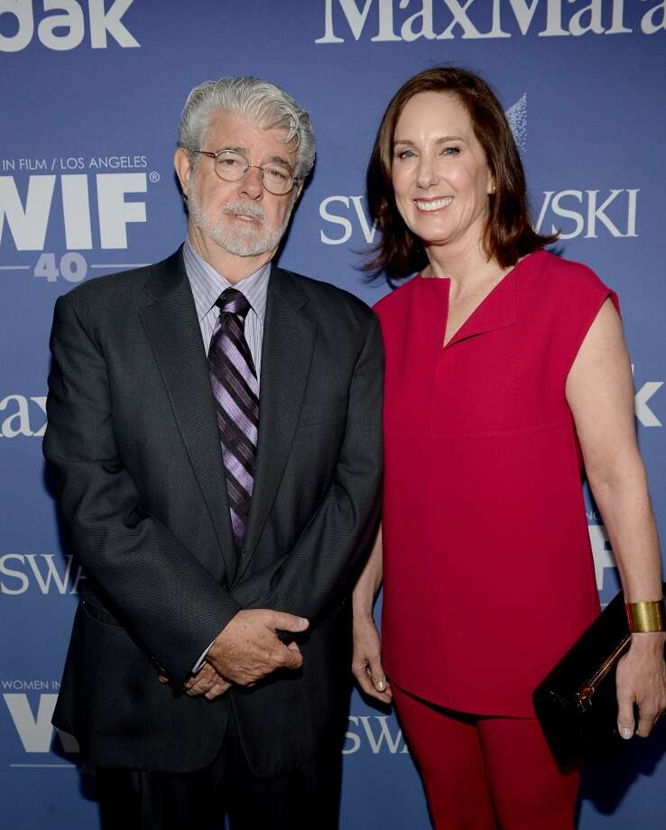 BEVERLY HILLS, CA - JUNE 12:  Director/producer George Lucas (L), recipient of the Norma Zarky Humanitarian Award, and producer Kathleen Kennedy attend Women In Film's 2013 Crystal + Lucy Awards at The Beverly Hilton Hotel on June 12, 2013 in Beverly Hills, California.  (Photo by Michael Buckner/Getty Images for Women In Film)