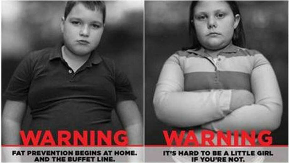 "A 2012 Georgia ad campaign aimed at fighting childhood featured black-and-white posters of gloomy-looking overweight kids accompanied by blunt statements such as, ""Warning. It's hard to be a little girl if you're fat."""