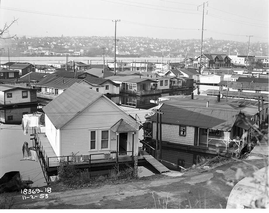 Portage Bay houseboats, 1953.  Photo: Seattle Municipal Archives, /