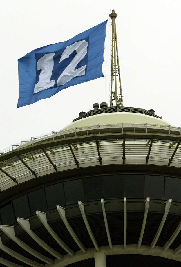 The 12th Man flag flies on the Space needle on Jan. 9, 2006, during the Seahawks' playoff run. Photo: Seattle Post-Intelligencer / Seattle Post-Intelligencer