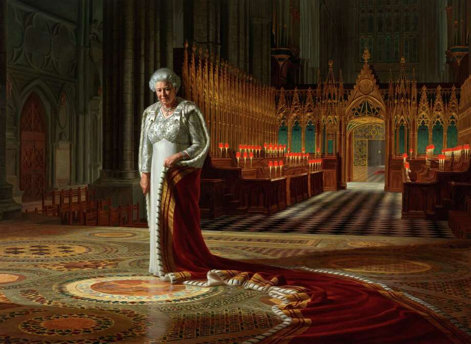 This is an undated handout photo released by Sutton PR of the painting by Ralph Heimans entitled  'The Coronation Theatre, Westminster Abbey:  A Portrait of Her Majesty Queen Elizabeth II, 2012 '.   A portrait of Queen Elizabeth II on display at Westminster Abbey has been defaced with paint. The abbey says a painting by Ralph Heimans hanging in the building's Chapter House was vandalized at lunchtime on Thursday.  It has been removed from public view until it can be restored. The portrait by Australia-born artist Heimans was commissioned to mark last year's anniversary of the queen's 60 years on the throne. It was on display until March in Australia's National Portrait Gallery in Canberra.  Last week the monarch attended a ceremony in the abbey where she was crowned to mark the 60th anniversary of her coronation in June 1953. (AP Photo / Ralph Heimans / Colin White/Max C/PA) NO SALES Photo: Ralph Heimans/ Colin White/Max C