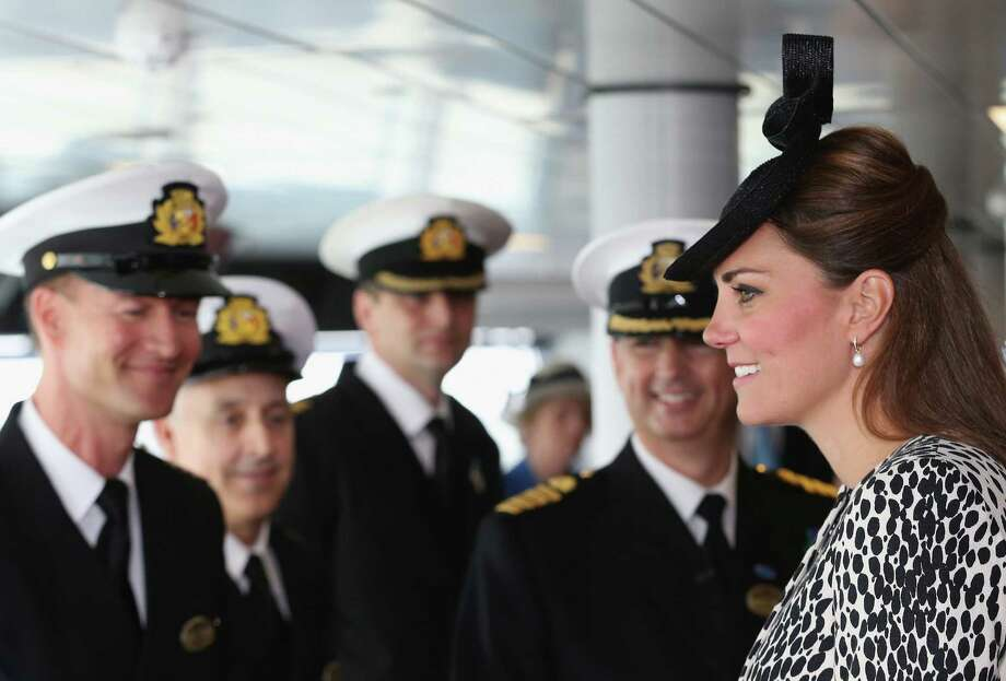 Britain's Duchess of Cambridge speaks to the crew during an on board tour during the Princess Cruises ship naming ceremony to officially name the new Royal Princess cruise liner at a gala ceremony, in Southampton, England, Thursday June 13, 2013. It is expected to be her final planned solo event before the birth. (AP Photo/Chris Jackson, Pool) Photo: Chris Jackson