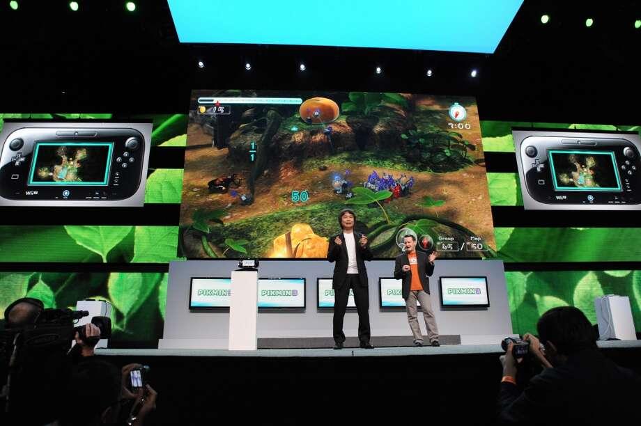 Nintendo's 'Pikmin 3,' presented by video game designer Shigeru Miyamoto, for Wii U GamePad.
