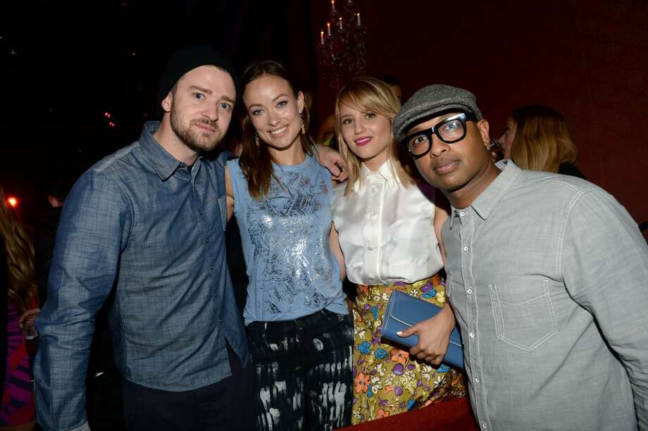(L-R) Singer Justin Timberlake, actress Olivia Wilde, actress Dianna Agron and musician Kenna attend the new Myspace launch event at the El Rey Theatre on June 12, 2013 in Los Angeles, California  (Photo by Jason Kempin/Getty Images for Myspace)
