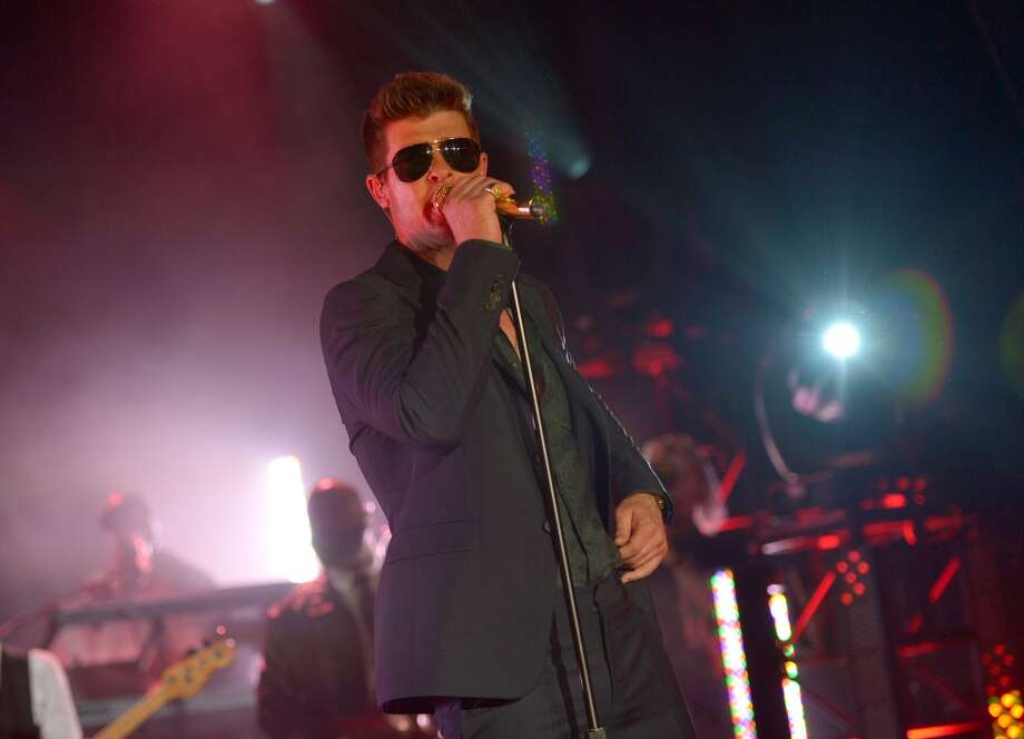 LOS ANGELES, CA - JUNE 12:  Singer Robin Thicke performs during the new Myspace launch event at the El Rey Theatre on June 12, 2013 in Los Angeles, California.  (Photo by Charley Gallay/Getty Images for Myspace)