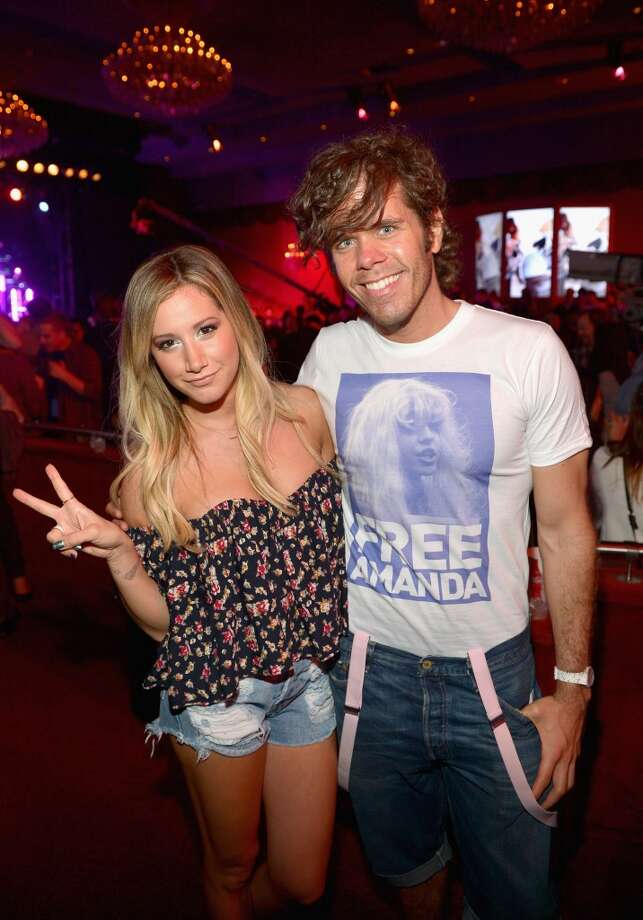 LOS ANGELES, CA - JUNE 12:  Actress Ashley Tisdale and Perez Hilton attend the new Myspace launch event at the El Rey Theatre on June 12, 2013 in Los Angeles, California.  (Photo by Charley Gallay/Getty Images for Myspace)