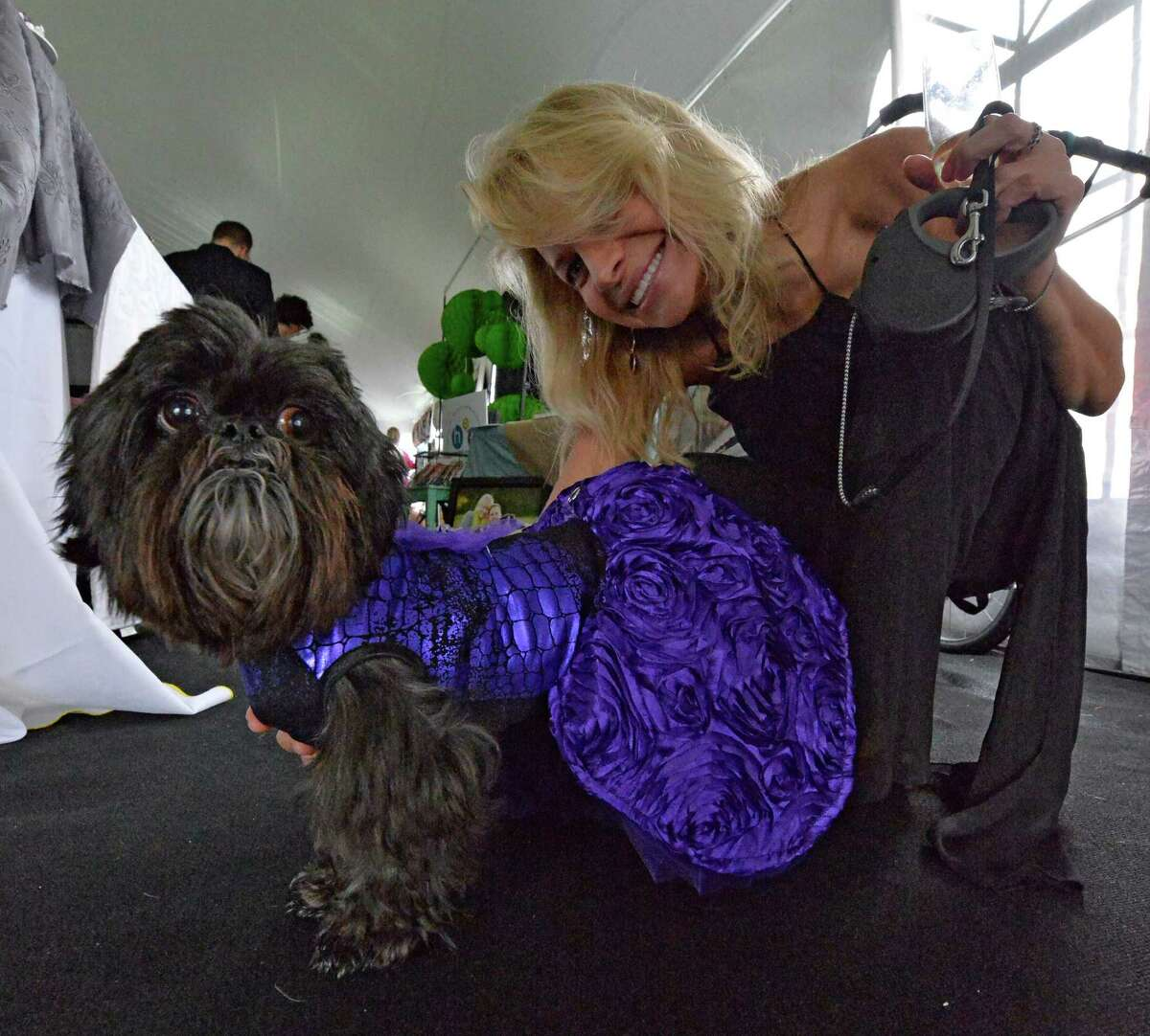 Christine Smith accompanies Tucker in his dress at the American Cancer Society's annual fundraiser Dogs & Divas Fashion Show Thursday June 13, 2013 at the Saratoga National Golf Course in Saratoga Springs, N.Y. (Skip Dickstein/Times Union)