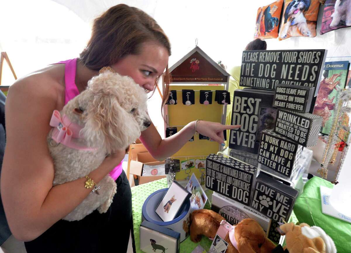 Lexi Nahl shows dog Muffin some the signs at the Wit's End booth at the American Cancer Society's annual fundraiser Dogs & Divas Fashion Show Thursday June 13, 2013 at the Saratoga National Golf Course in Saratoga Springs, N.Y. (Skip Dickstein/Times Union)