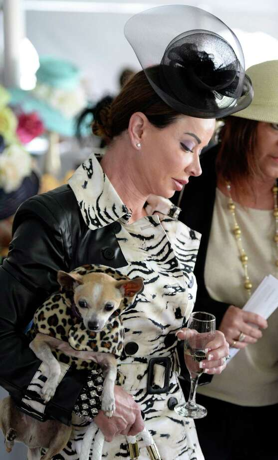 Phyllis Bynum with a black fascinator and her dog Benjamin in her arms enjoys the American Cancer Society's annual fundraiser Dogs & Divas Fashion Show Thursday June 13, 2013 at the Saratoga National Golf Course in Saratoga Springs, N.Y.     (Skip Dickstein/Times Union) Photo: SKIP DICKSTEIN / 00022794A