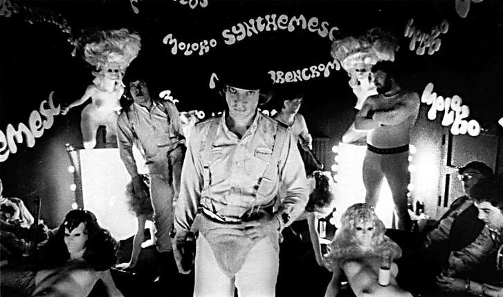 "FILE--Actor Malcolm McDowell, center, portraying ""Alex"" in the 1971 movie ""A Clockwork Orange"" directed by Stanley Kubrick, is seen in this handout picture. Kubrick died Sunday at his home in England, his family said. He was 70. (AP Photo/Warner Bros. Inc.)"