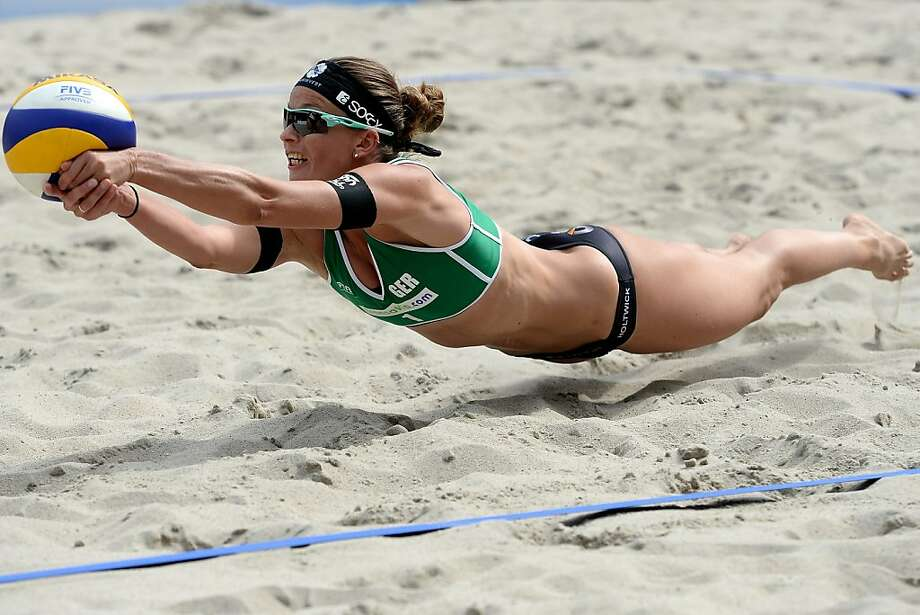 Can you dig it? Katrin Holtwick of Germany dives to save a point during the FIVB Grand 