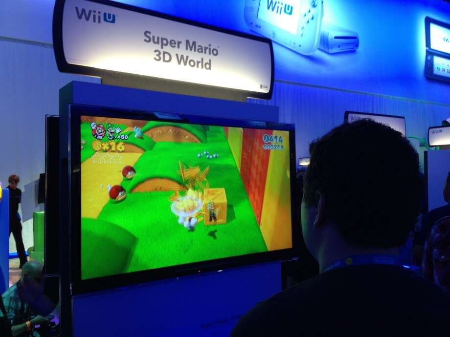 "A player tests ""Super Mario 3D World"""