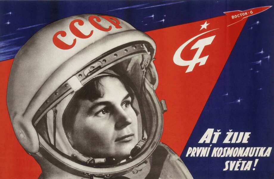 Tereshkova  made 48 orbits of Earth, spending nearly three days in space. This poster reads, in Czech, 'At Zije Prvni Kosmonautka Sveta' ('Light of (or Long Live) the First Woman Cosmonaut'). Photo: Science & Society Picture Librar, SSPL Via Getty Images / Please read our licence terms. All digital images must be destroyed unless otherwise agreed in writing.