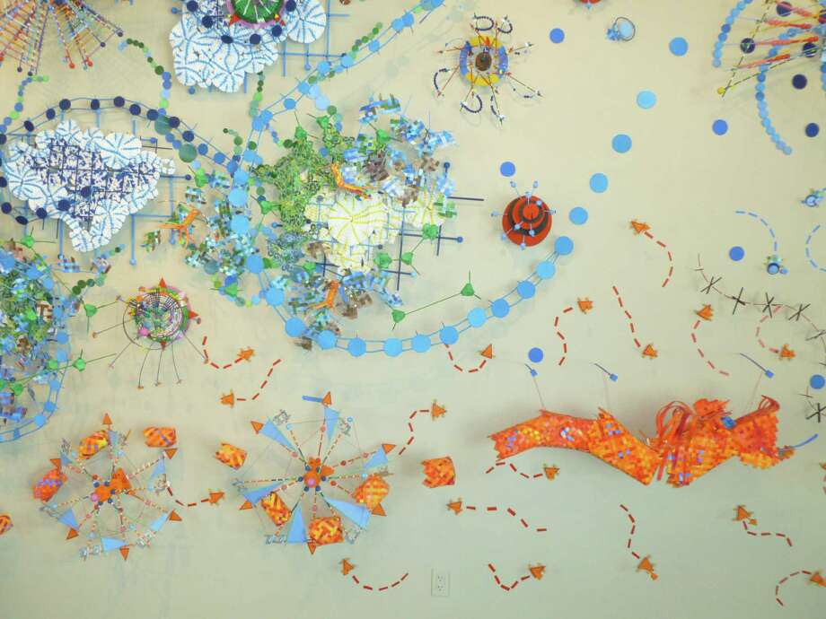 "Nathalie Miebach's wall piece ""Changing Waters,"" at Gallery Nord, mixes play and science. Photo: Courtesy Gallery Nord"