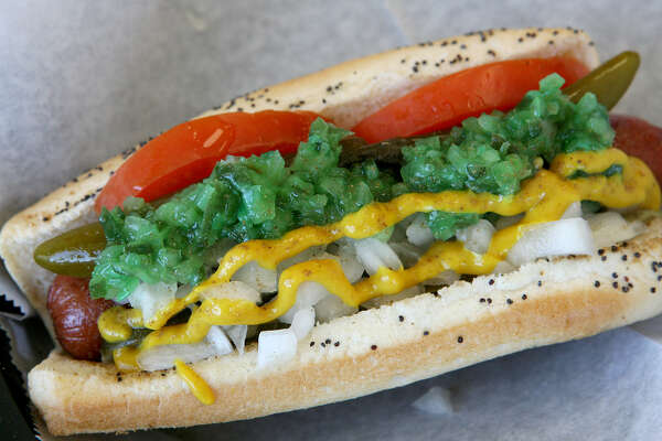 The Chicago Dog is served at the Original San Antonio Hot Dog House, which won Critics' Choice for best hot dog.
