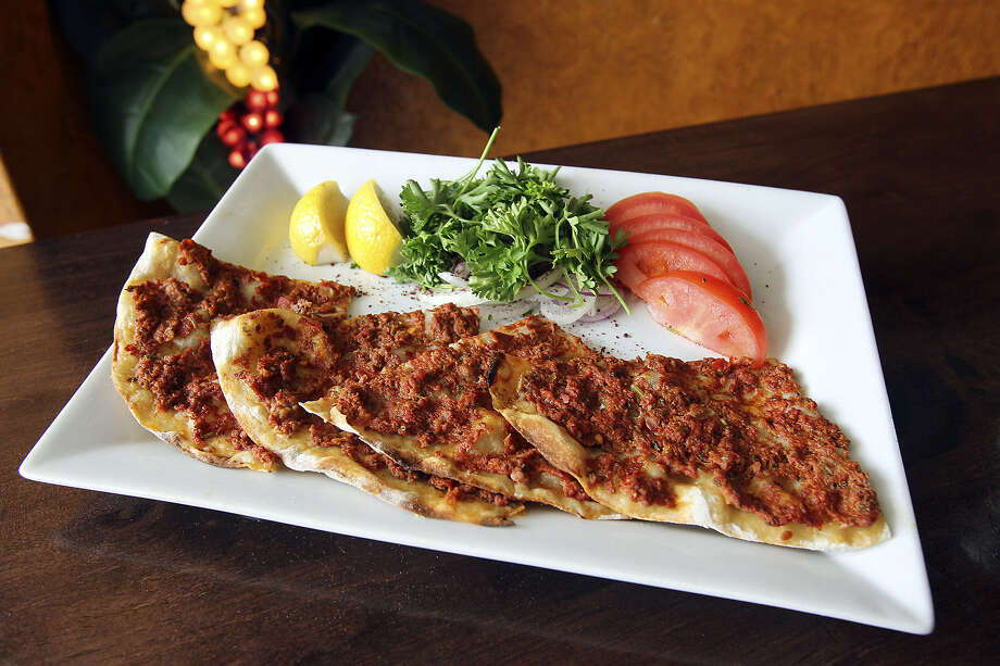 Mediterranean Turkish Grill uses a combination of beef and lamb on its lahmacun.