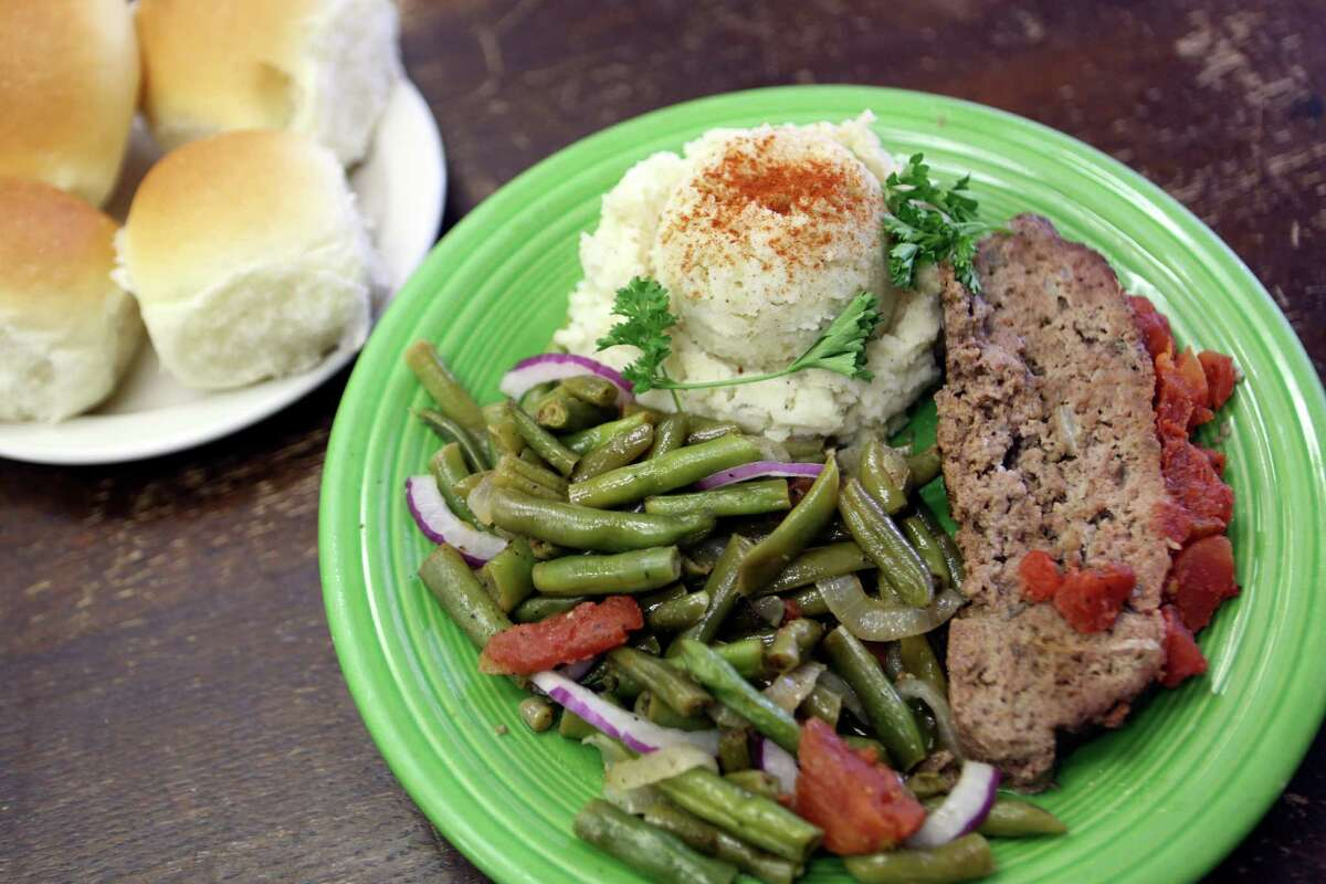 Meatloaf with green beans and mashed potatoes from Joseph's Storehouse.
