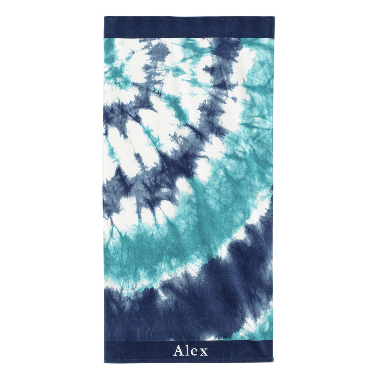 This product image released by Pottery Barn Teen shows a tie dye beach towel in blue. Pottery Barn Teen has towels with surfer-cool designs like hibiscus flowers, Tiki prints and tie-dye patterns in summery hues, as well as sporty towels for baseball fans, with team logos. (AP Photo/Pottery Barn Teen)