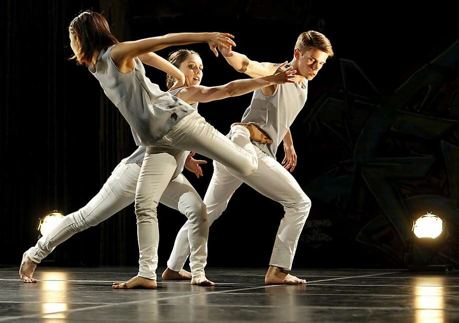 Levydance's Yu Kondo Reigen (left), Sarah Dionne Woods and Paul Vickers intertwine during an anniversary show. Photo: Brant Ward, The Chronicle