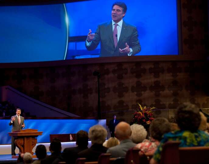 Texas Gov. Rick Perry speaks at First Baptist Dallas on Sunday, April 7, 2013. (AP Photo/The Dallas