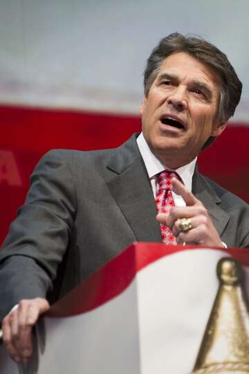 In this May 3, 2013 file photo, Texas Gov. Rick Perry speaks during the leadership forum at the Nati