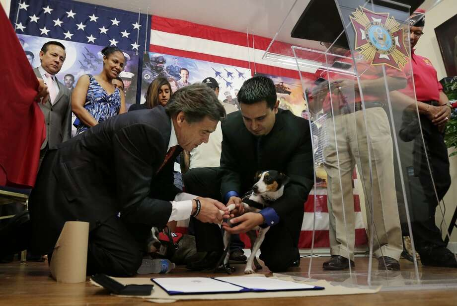 Gov. Rick Perry, left, and Adan Gallegos, right, help service dog Boots place his paw print during a ceremonially signing of House Bill 489, at VFW Post 76, Friday, June 7, 2013, in San Antonio.  The bill will allow people with disabilities to use the assistance of service animals in all public places, including retail businesses and restaurants. (AP Photo/Eric Gay) Photo: Eric Gay, Associated Press