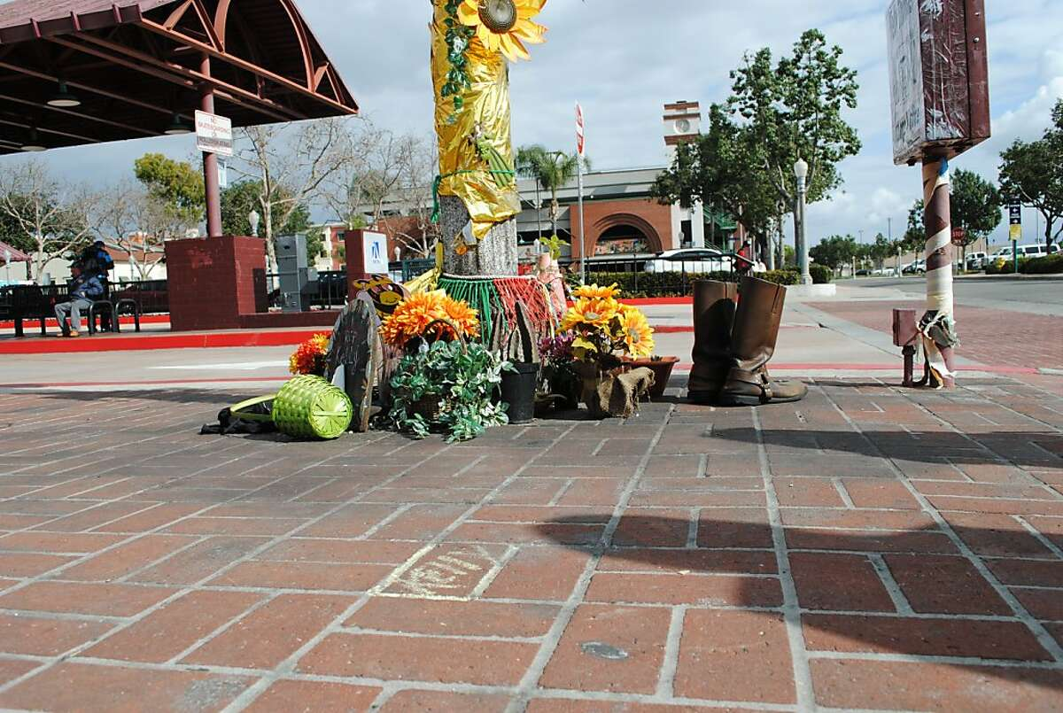 An informal memorial to Kelly Thomas, maintained by Fullerton residents. In 2011, Thomas, homeless and diagnosed with schizophrenia, died after a brutal police beating in downtown Fullerton. The incident roiled Fullerton, leading the resignation of the police chief, the recall of three city council members, and criminal charges against three officers. Courtesy of Oakland Museum of California, 2013. Photo: Kamalla Bennett.