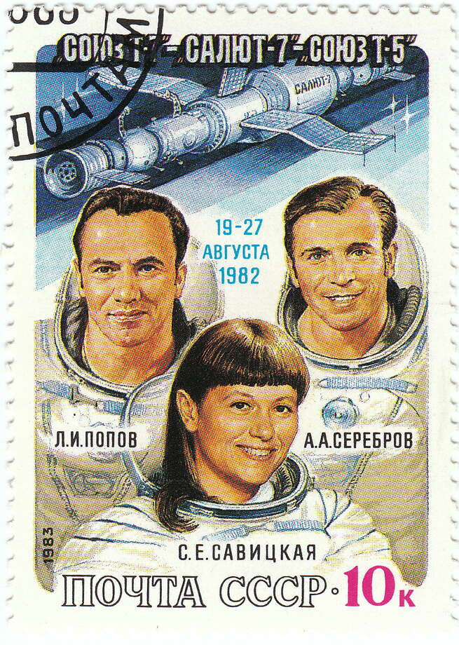 Soviet Cosmonaut Svetlana Savitskaya (center) was the first woman to walk in space, on July 25, 1984. Photo: Soviet Union Post, Wikimedia Commons
