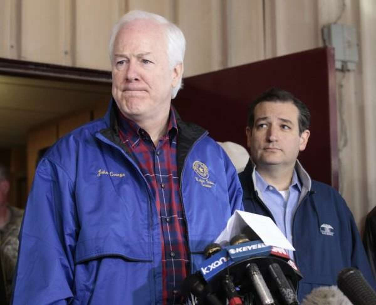 Sen. John Cornyn and Sen. Ted Cruz visit West, Texas in the aftermath of the plant explosion. (AP Photo/Star-Telegram, Ron T. Ennis)