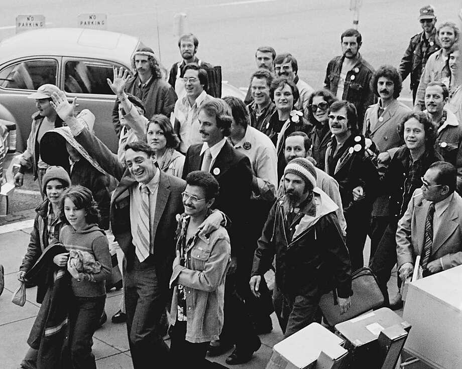 Supervisor Harvey Milk's inaugural walk to City Hall from the Castro neighborhood on Jan. 9, 1978. Photo: Daniel Nicoletta 1978