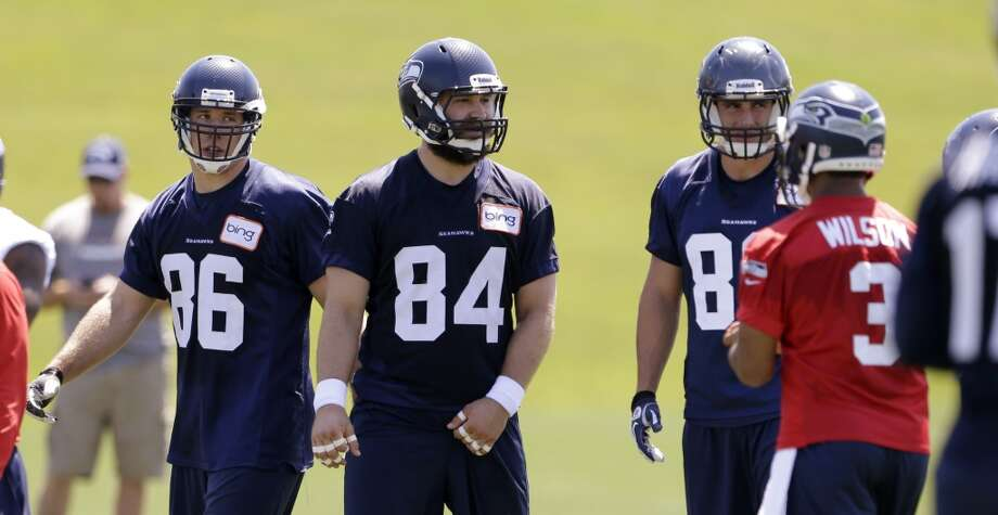 On Anthony McCoy's injury and the depth at tight end:''We're always looking at all spots. We like what we've seen. Sean McGrath (pictured No. 84) has made a really obvious elevation. He's doing a fine job and, like I said a couple of days ago, his offseason work has really shown up. He's really stronger and quicker. He's done a fine job out here.  ''Luke Willson (pictured No. 82) has done a really good job. We're excited about (draftee) Luke's addition. We don't see anything that Luke can't do. We haven't seen him in pads, yet, to really understand the dynamics of his blocking. But we know he's willing, he's got a tough attitude and he looked great on film in college (at Rice). So with Luke coming in, it's a nice spot. But we're always looking.''