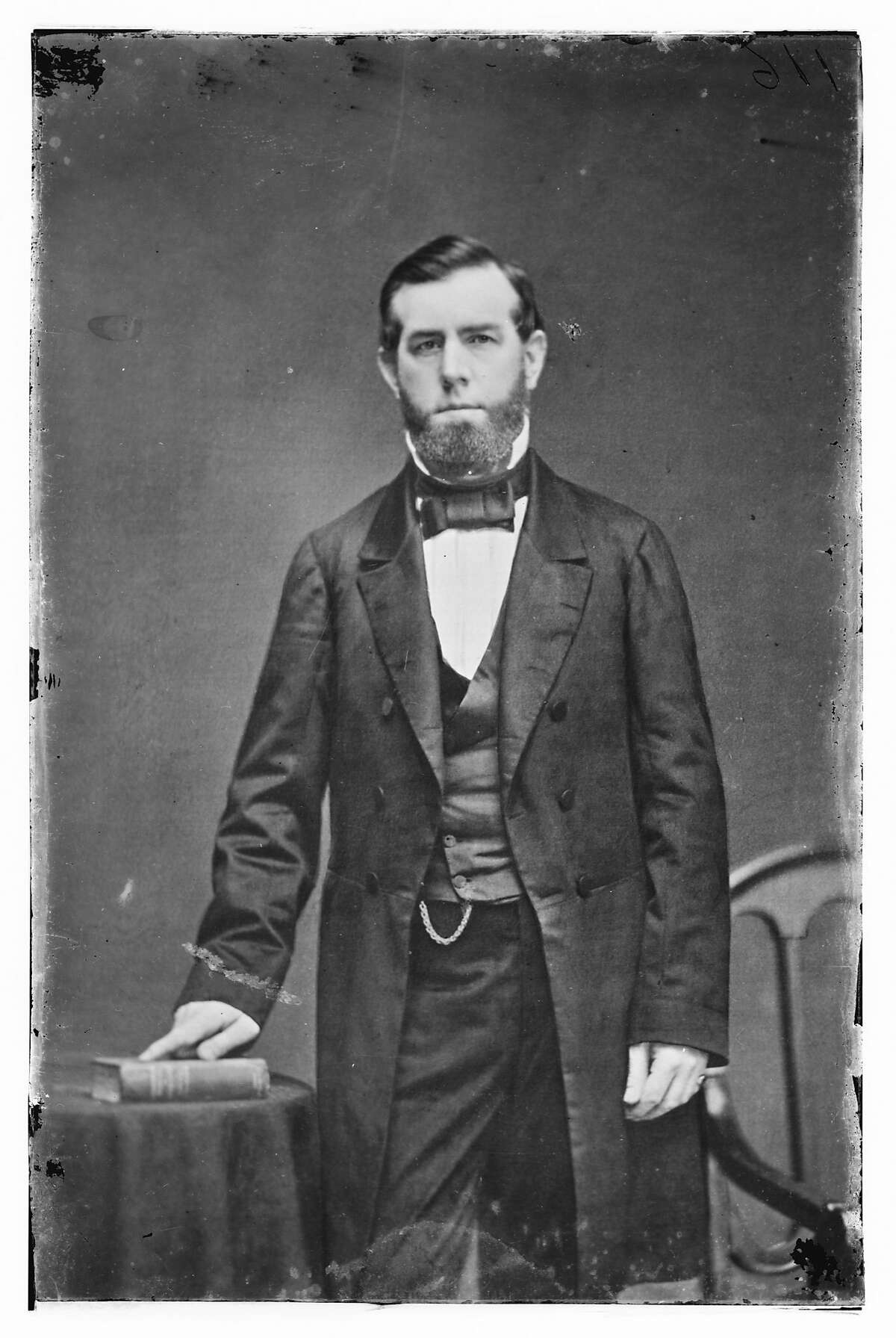 """FILE - In this undated black-and-white handout file photo provided by the Library of Congress, Sen. David Broderick, D-Calif. is seen. Nearly two years before the first shots were fired in the Civil War, simmering hostilities over slavery erupted on a """"field of honor"""" in California, where a pro-slavery judge mortally wounded an anti-slavery senator in a duel. (AP Photo/Library of Congress)"""